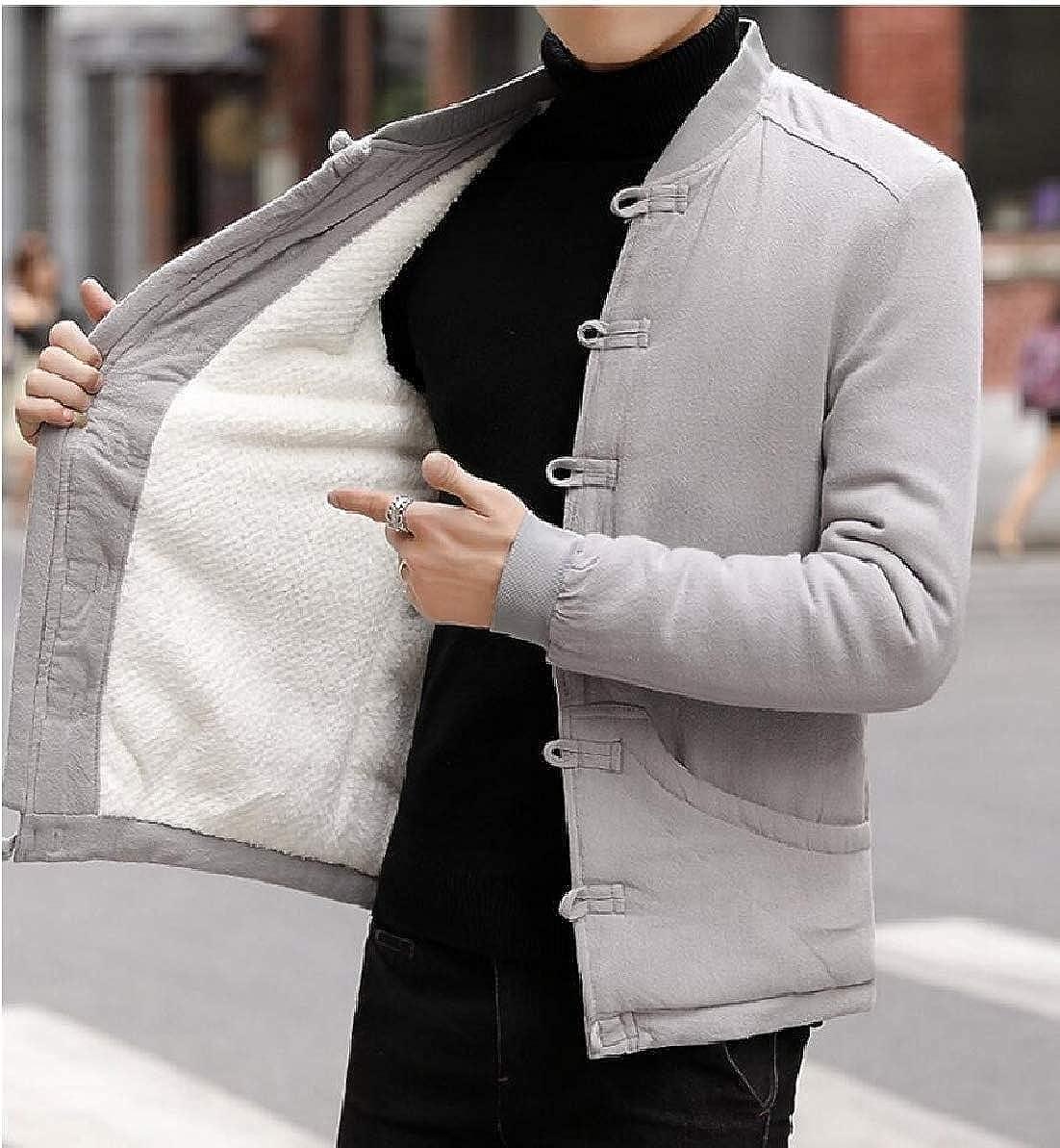 FLCH+YIGE Men Casual Fleece Lined Jacket Cotton Linen Button Down Thick Warm Coat