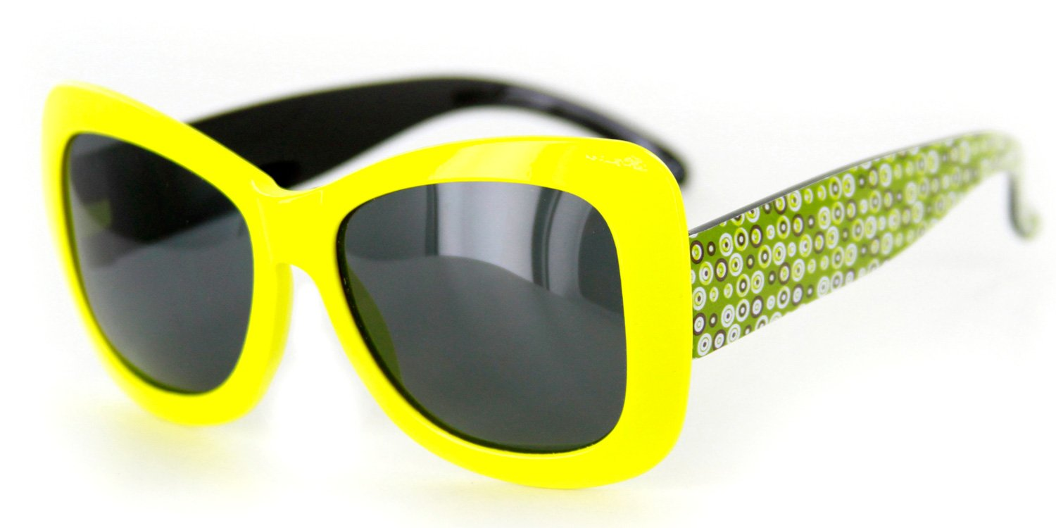 Hippie Chic Polarized Girl's Sunglasses with Retro Square Frames Protect Your Children's Eyes in the Sun (Yellow w/Smoke Lens)