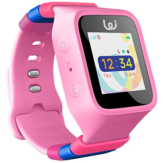 POMO Waffle Smart Watch GPS Locator for Kids (Pink) with SOS Function, Pedometer