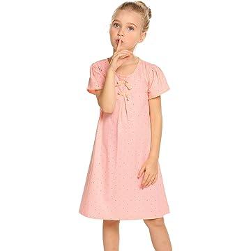 Balasha Girls Cute Short Sleeve Pleated A-line High Waist Solid Color Bowknot Dress Buttons