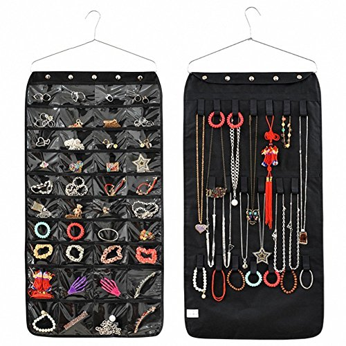 Yingli Jewelry Hanging Non Woven Organizer 40 Pockets 22 Hook  Earrings Necklace Bracelet Holder Dual Sided Space Saving Household Closet Accessory Storage Bag With Hanger  Black