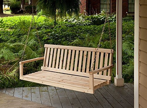 (Premium Porch Swing Patio Swings Outdoor Wooden 2 Person Bench Furniture Hanging Modern Log All Weather Style)