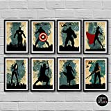 The Avengers Poster Set 8 Minimalist Watercolor Marvel superheroes Movie Print Captain America Iron Man Thor Hulk Black Widow Hawkeye Nick Fury Winter Soldier Bucky Barnes Artwork Wall Art Home Decor -  Cubic Prints