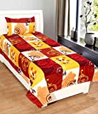 Homefab India 3D Economy 140 TC Polycotton Single Bedsheet with Pillow Cover - Modern, Multicolour