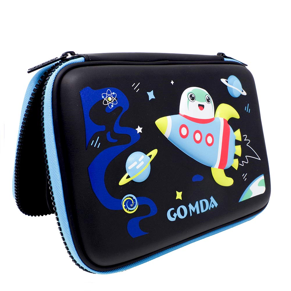 """Pencil Case, Pen Case Organizer for School Office Home, Large Capacity and Waterproof Pen Pencil Box with Double Zipper, 8.6""""x 6.2""""x 1.5""""(Black)"""