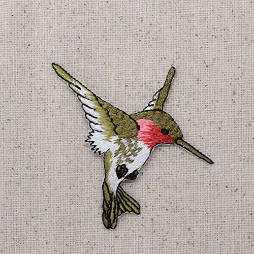 Pink Flowers Iron on Embroidered Applique Patch Large Hummingbird Ruby Red Throat