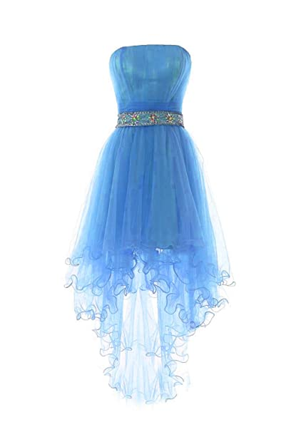 2f8ed468297 Fanciest Women s Strapless Beaded High Low Prom Dresses Short Homecoming  Gowns Blue US2