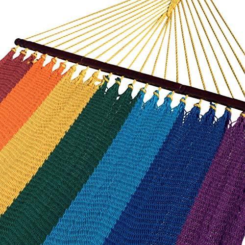 Caribbean Hammocks Double 48 inch – Soft-Spun Polyester – Rainbow