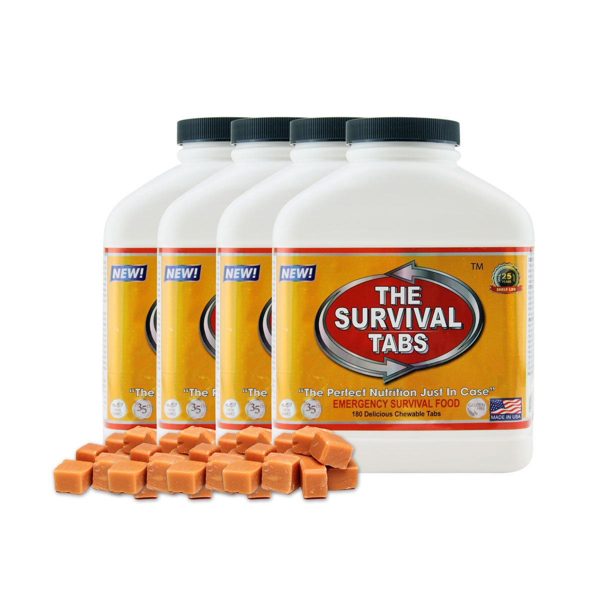 Survival Tabs 60 Day 720 Tabs Emergency Food Survival Food Meal Replacement MREs Gluten Free and Non-GMO 25 Years Shelf Life Long Term Food Storage - Butterscotch Flavor