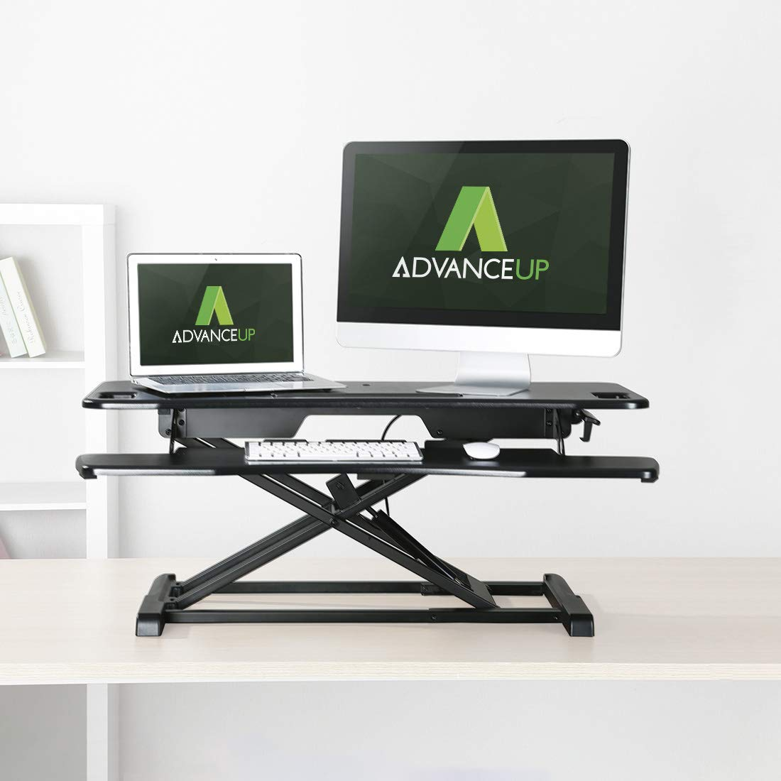 AdvanceUp 2-Tier 37.4 Extra Wide Standing Desk Converter, Instant Height Adjustable Dual Monitor Sit-Stand Workstation, Instantly Convert Any Desk to a Sit-Stand Desk, Gas Spring Riser Converter