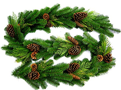 "9' Long, 14"" Wide! Juniper Pine Christmas Garland - Accurately Mimics Texture and Color of Natural, Freshly Cut Pine Needles - Adorned with Select Cones & Cedar Sprigs - Designer Preferred Look"
