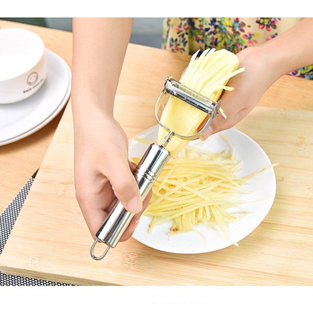 ZZM Rebanador de peladoras Julienne y Vegetales Dual Ultra Sharp de acero inoxidable Herramienta incre/íble para hacer deliciosas ensaladas y fideos de verduras