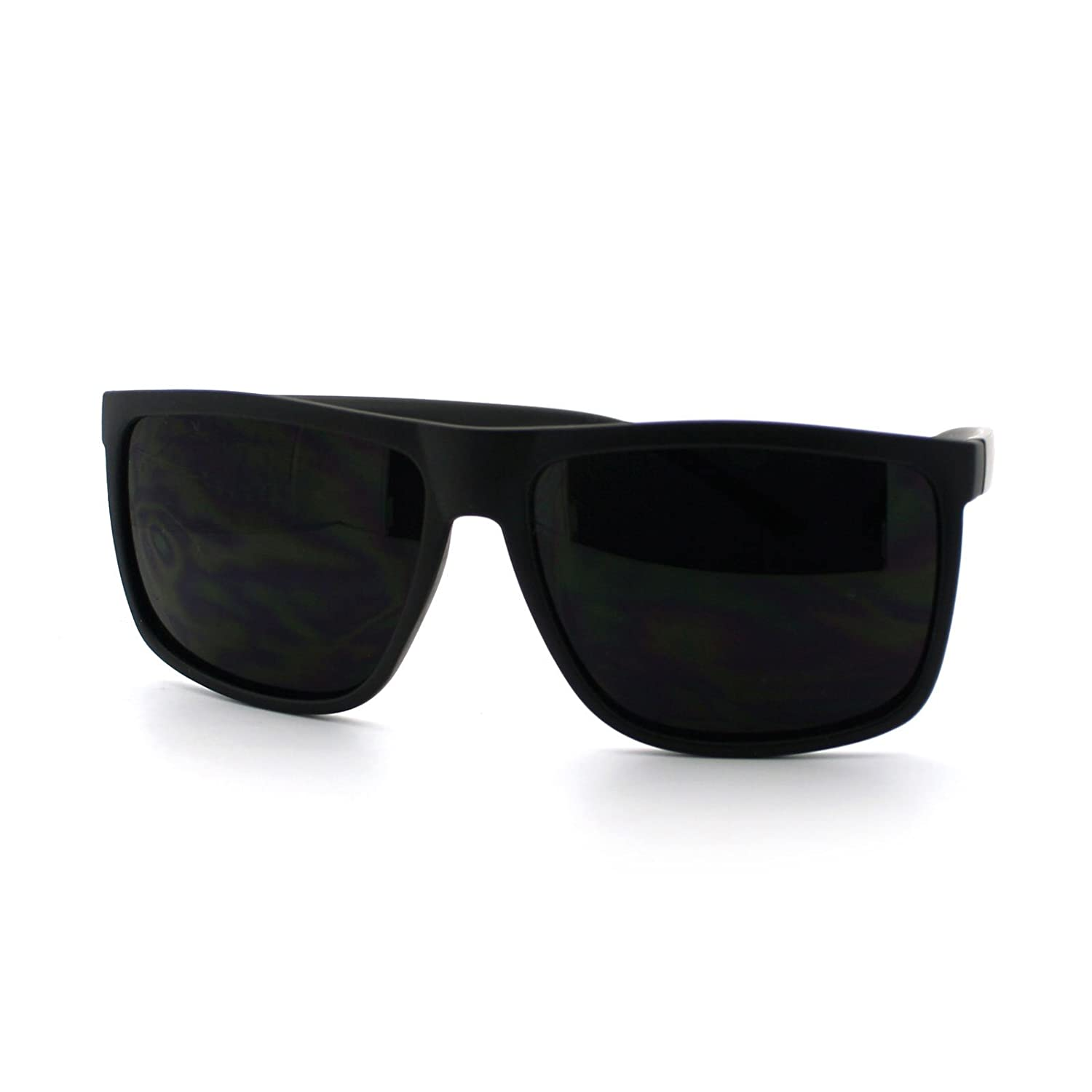 7dc823ac786 Amazon.com  Super Dark Black Lens Men s Sunglasses Classic Square Frame  Black  Clothing