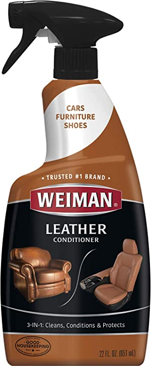 Weiman Leather Cleaner and Conditioner for Furniture - 22 Ounce - Cleans Conditions and Restores Leather Surfaces - UV Protectants Help Prevent Cracking or Fading of Leather Car Seats, Shoes, Purses
