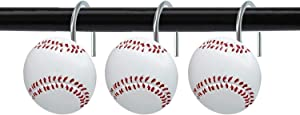 ZILucky Set of 12 Baseball Shower Curtain Hooks Rings Sports Theme Style for Bathroom Home Decor Rustproof Accessories (Baseball)