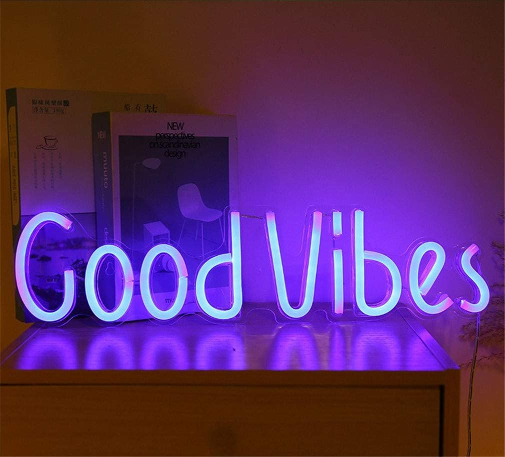 Ulalaza Neon Light Sign LED Good Vibes Night Lights USB Operated Decorative Marquee Sign Bar Pub Store Club Garage Home Party Decor