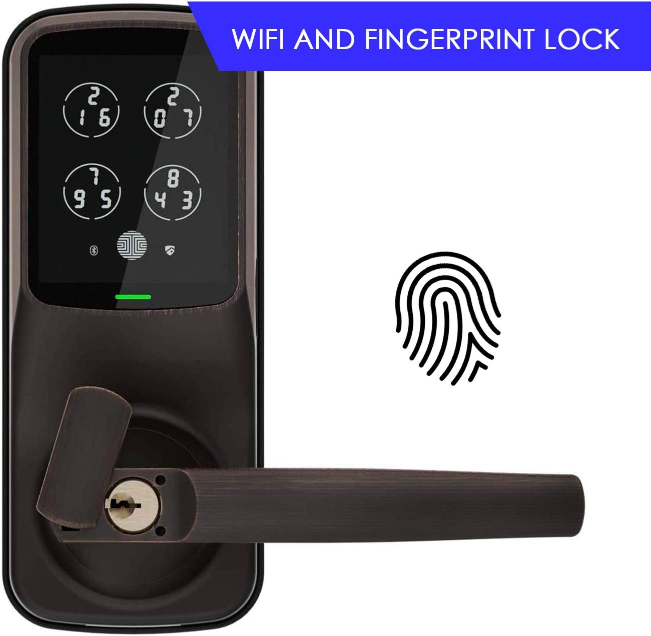 iOS Android Compatible Secure Keypad Bluetooth Fingerprint WiFi Keyless Entry Smart Door Lock 3D Fingerprint Reader Latch, Satin Nickel PGD628W Lockly Secure Pro Latch Edition