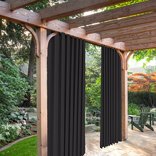 Panel 84l (SeeSaw Home Mildew Resistant Thermal Insulated Outdoor Curtains/Draperies for Patio or Front Porch Eyelet Grommet, 100W By 84L Inch, 1 Panel, Black)