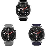 for Amazfit GTR 47mm Band, Lamshaw Classic Silicone Replacement Straps for Amazfit GTR 47mm (3 Pack)