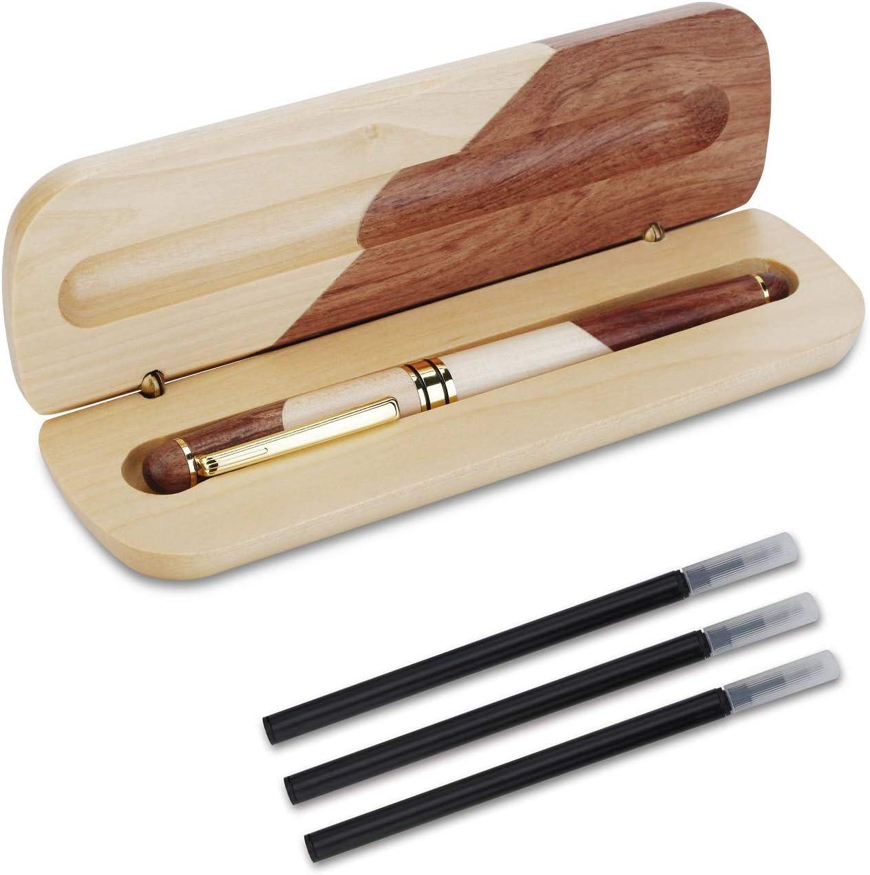 OMZGXGOD - Bolígrafo de madera hecho a mano natural, pluma de regalo de lujo, personalizada, elegante y exquisito juego de pluma de regalo