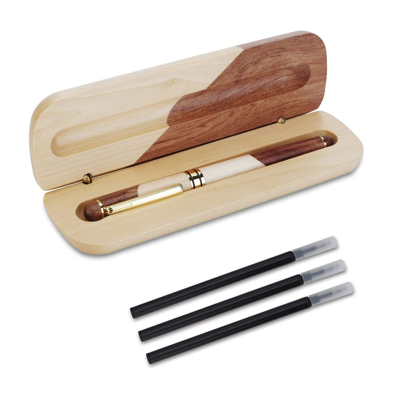 personalizzata OMZGXGOD penna regalo di lusso set di penne regalo elegante ed elegante Penna a sfera in legno naturale fatta a mano