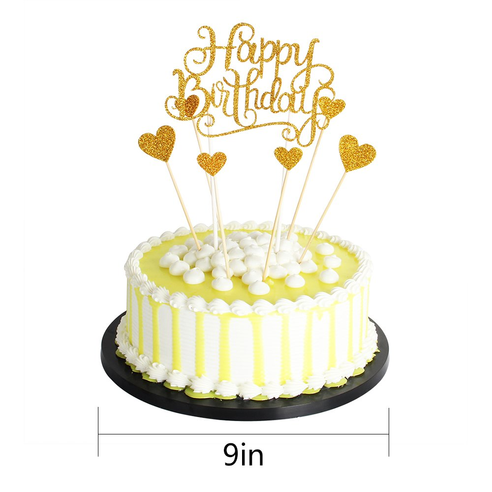Palasasa Happy Birthday Cake Toppers Glod Glitter Letters Happy