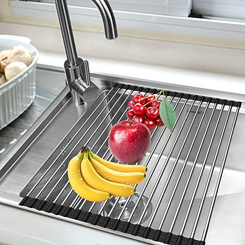 Sink Rack,Stainless Steel Drain Foldable Sink Dish Drying 304 Stainless ,17-3 / 4 (L) x 13 (W) Roll Up Dish Drying Rack for Kitchen and Dinning Room
