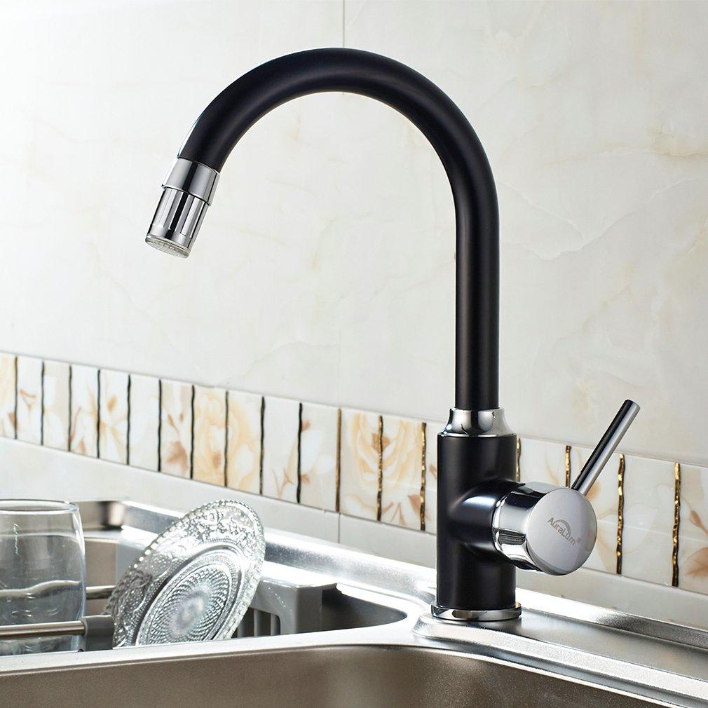 Auralum LED RVB Rotatif /à 360//° Robinet Robinet pour Cuisine /évier Robinet lavabo mitigeur de Cuisine mitigeur monocommande lavabo Eau Froide et Chaude