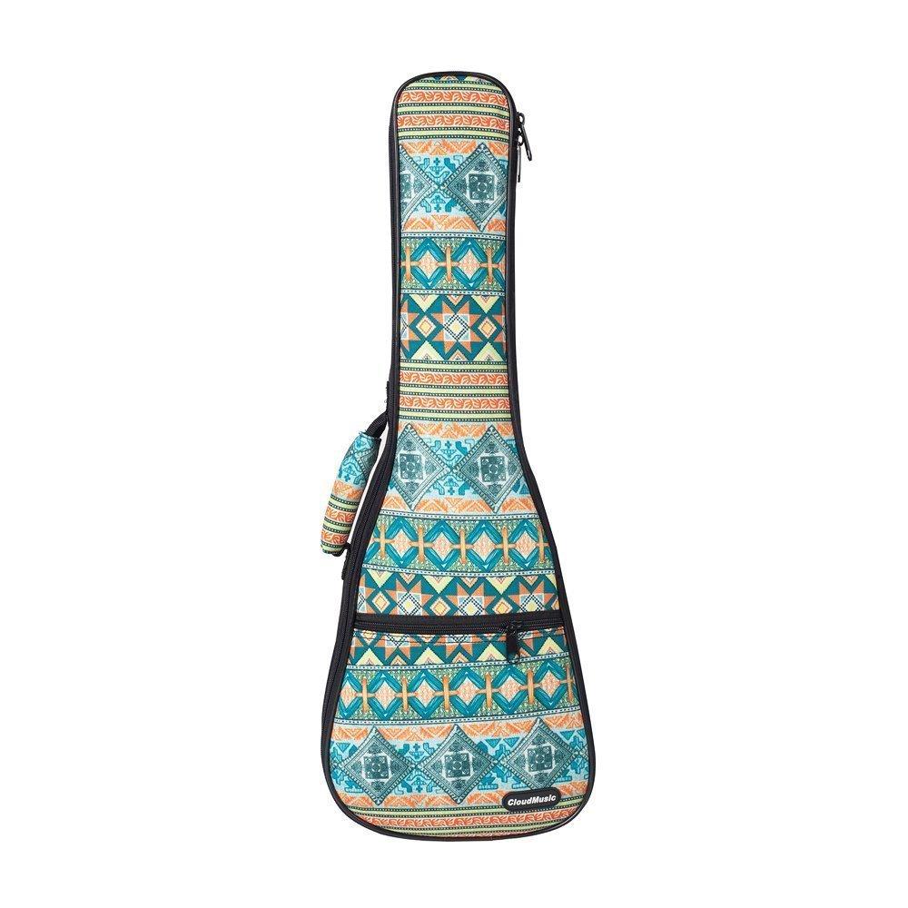 CLOUDMUSIC National Hawaiian Ukulele Bag Ukulele Case Bohemian Green (Concert)