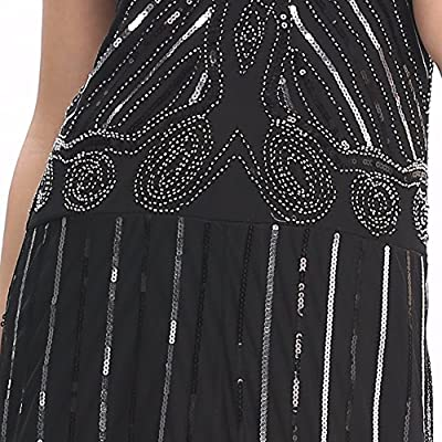 Wuchieal Women's 1920s Flapper Dress Gatsby Long Evening Prom Sequin Party dress SIZE 4-20