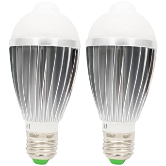 2X LED Glühbirne Birne mit Bewegungssensor Bewegungsmelder PIR Licht E27 9W DE
