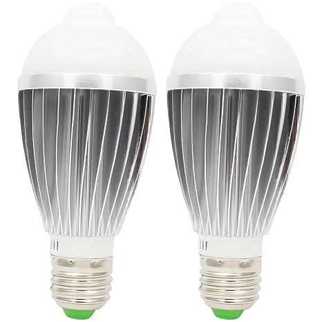 2 E27 Portalámparas bombilla LED (Bombilla 7 W con sensor de movimiento PIR sensor detector