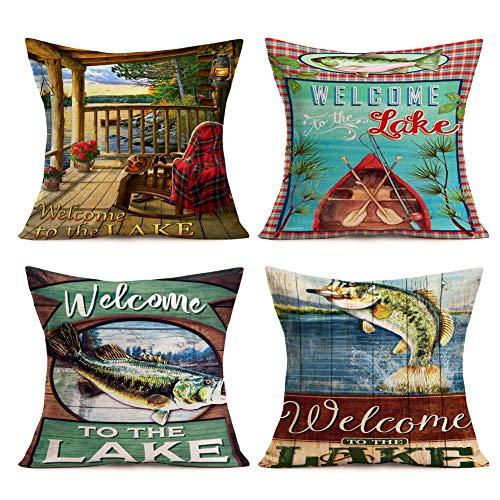 Asminifor Retro Vintage Wood Background with Sea Animal Fish Throw Pillow Covers Cotton Linen Pillowcase Cushion Cover Home Decor 18