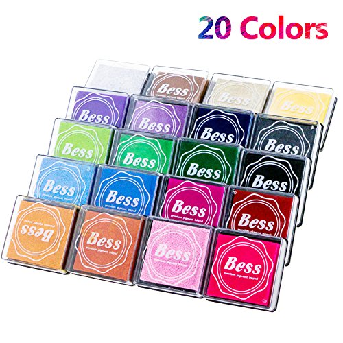 Fixget Ink Pad Stamps with 20 Colors, Creative DIY Rainbow Color Finger Water-Soluble Rubber Stamps Crafts Ink Pads Set Scrapbooking Printing Card Making for Kids