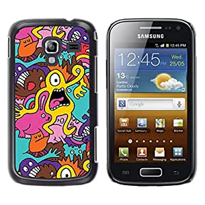 Estuche Cubierta Shell Smartphone estuche protector duro para el teléfono móvil Caso Samsung Galaxy Ace 2 I8160 Ace II X S7560M / CECELL Phone case / / Mono Eye Yellow Alien Monster Ca