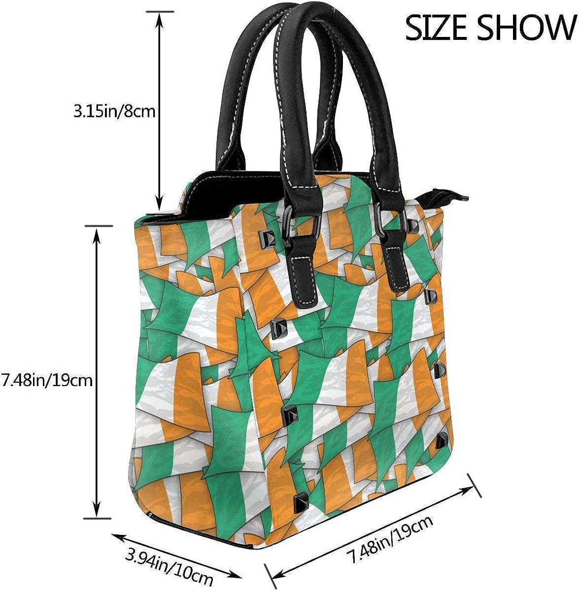 RJRA Damen Handtasche mit Meerjungfrauenmotiv, Leder, Nieten, groß, Marineblau Kunstflagge