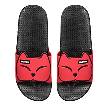 Zapatillas de baño de las mujeres, lindo gato ducha zapatillas cuatro temporadas Home sandalias playa piscina Hotel resistente al desgaste suave inferior ...