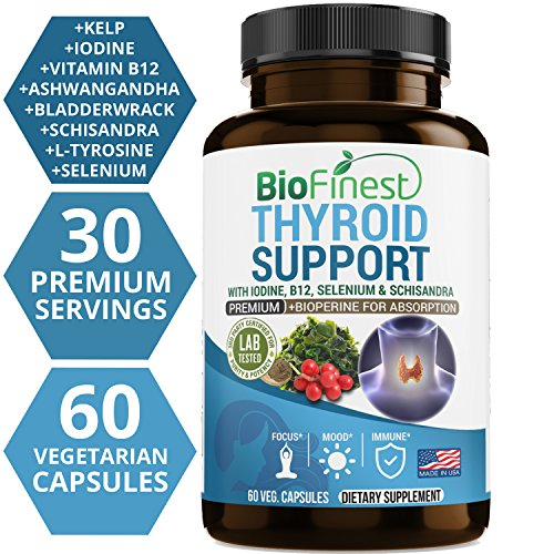 (Biofinest Thyroid Support Complex with Iodine - Supplement with B12, Selenium, Schisandra, Bioperine - All Natural - for Weight Loss, Energy, Metabolism & Focus (60 Vegetarian Capsules))