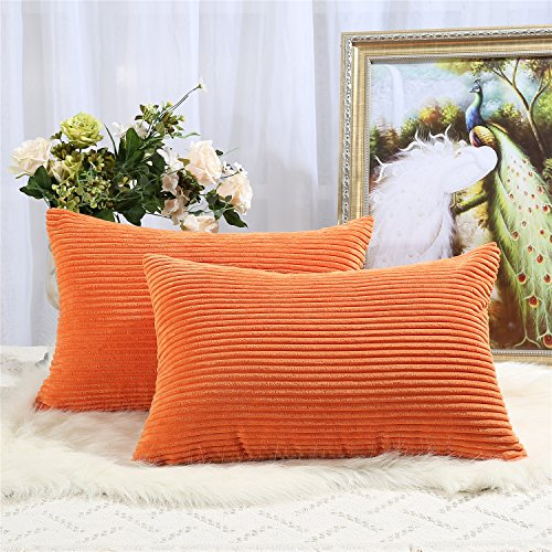 Miaote Pack of 2 Decorative Throw Pillow Covers Cases for Couch Bed Sofa,Striped Corduroy Velvet Cushion Covers for Baby, 16 X 24 Inches,Orange