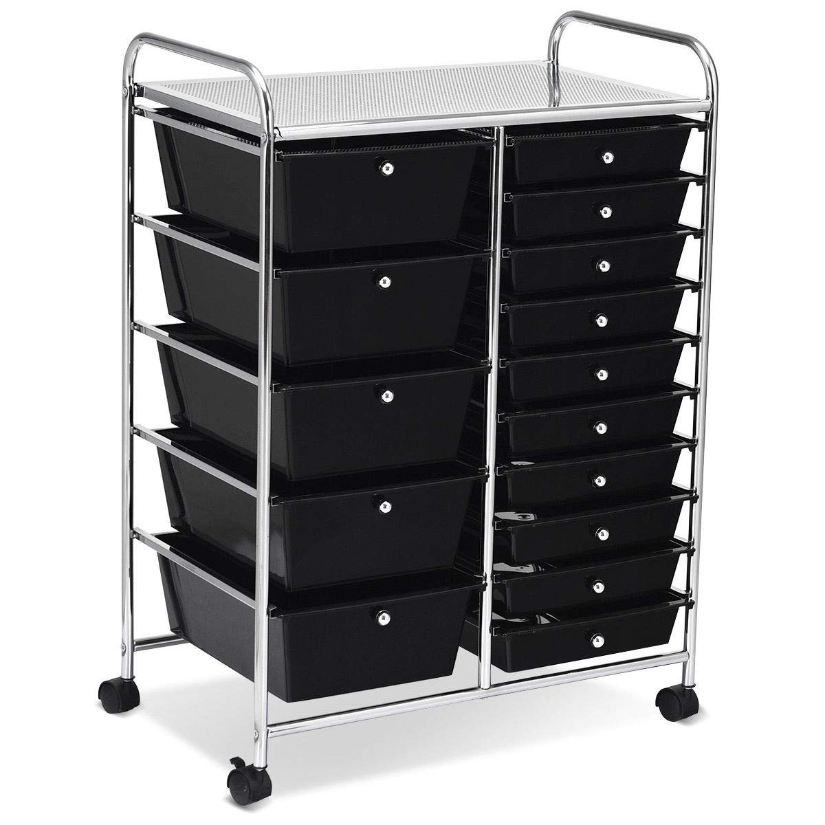 USA_BEST_SELLER 15-Drawer Utility Rolling Organizer Cart Multi-Use Storage Tools Scrapbook Paper (Black)