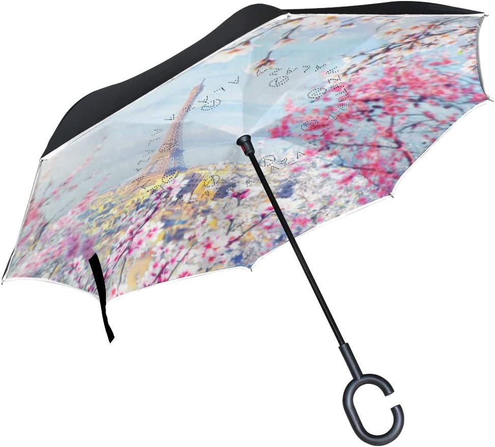 Double Layer Inverted Umbrella Cars Reverse Umbrella With C-Shaped Handle Vintage Colored Picture With Eiffel Tower Sturdy Windproof And UV Protection Compact Travel Umbrella For Women Men