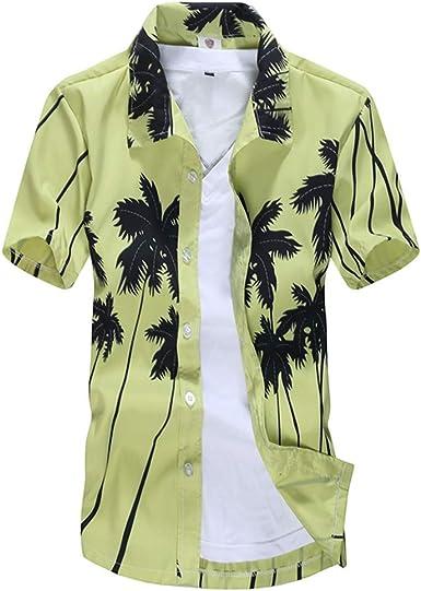 W-LL Men  S Quick-Dry Flower Shirt Slim Fit Tropical Hawaiian Shirt with Pocket