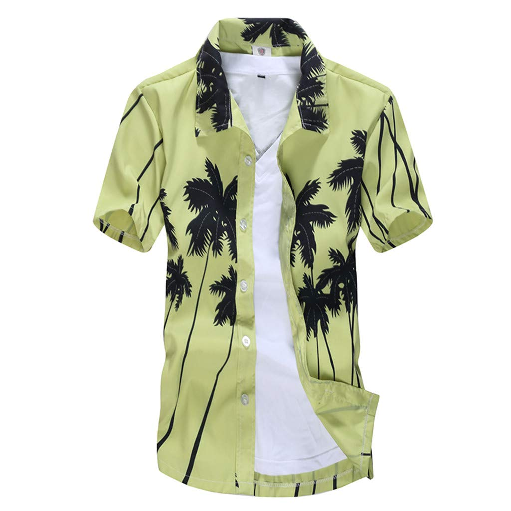 Pervobs Men's Casual Daily Hawaiian Style Printed Summer Short Sleeve Slim Fit Button-Down Beach Shirts Tops Blouse(M, Green)
