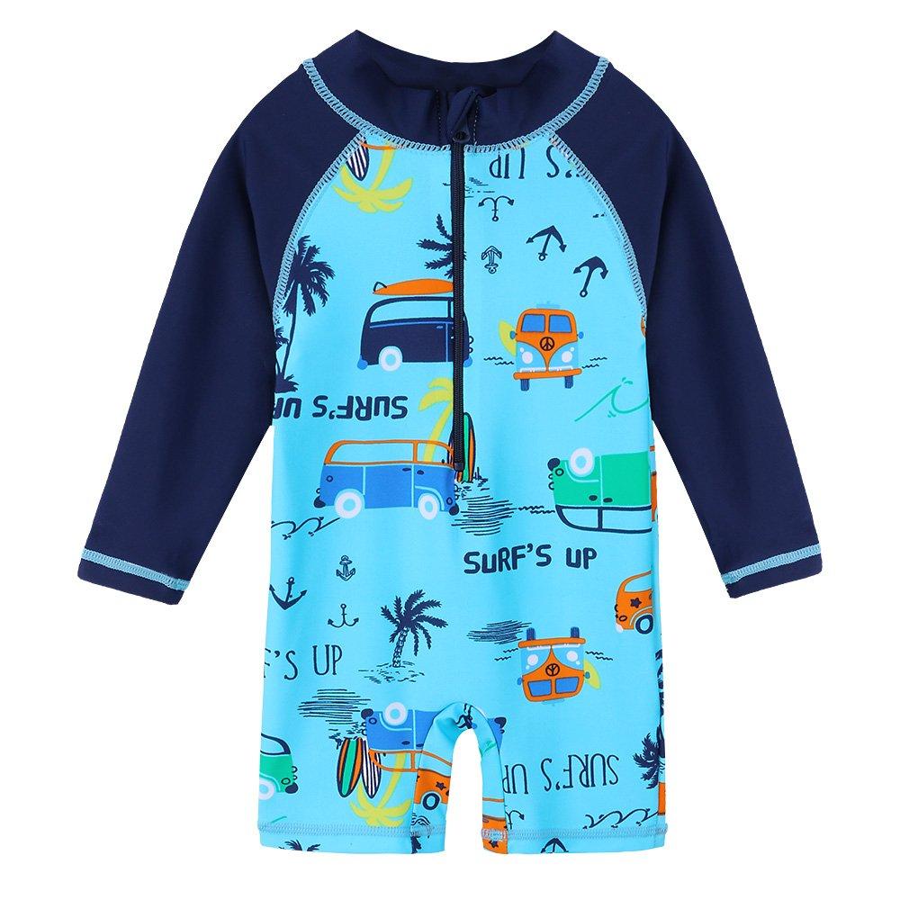 43f45ea9ea HUANQIUE Baby Toddler Boy Swimsuit Rash Guard Swimwear One Piece Car 2-3 T
