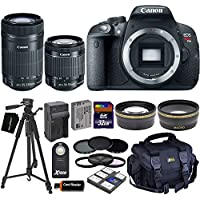 Canon EOS Rebel T5i Digital SLR Camera with 18-55mm STM & 55-250mm STM Zoom Lenses (International Version) + Tele & Wide Lenses + ND Filters ND2, ND4, ND8 + 15pc 32GB Dlx Accessory Kit At A Glance Review Image