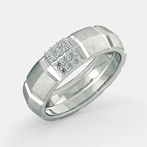 Anillos de boda de diamante natural redondo de 1,18 quilates para hombre de oro