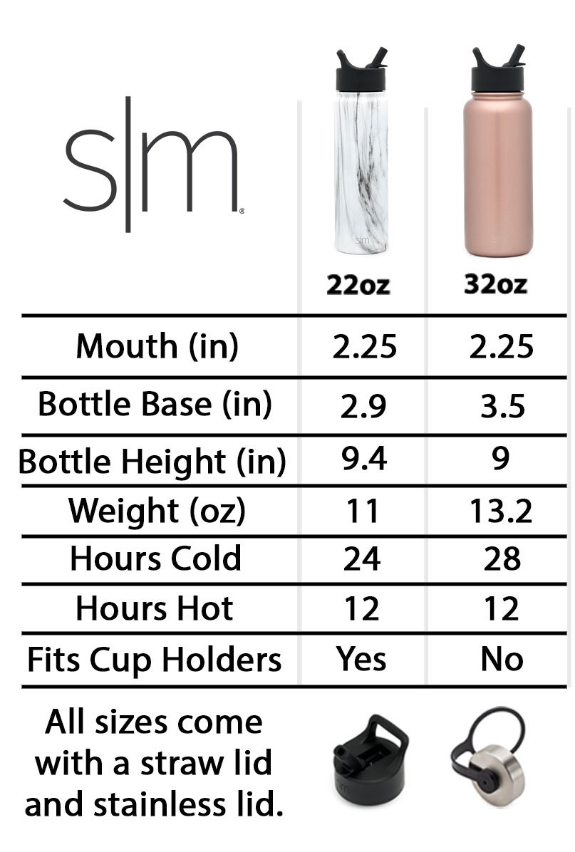 Simple Modern 22oz Summit Water Bottle with Straw Lid - Vacuum Insulated Double Wall Coffee Thermos 18/8 Stainless Steel Flask - Hydro Travel Mug - Sorbet by Simple Modern