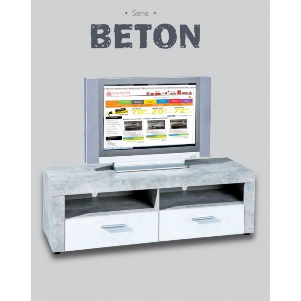 Meuble Tv 2 Tiroirs Et 2 Niches Aspect B Ton Et Blanc Amazon Fr  # Meuble Tv Effet Beton