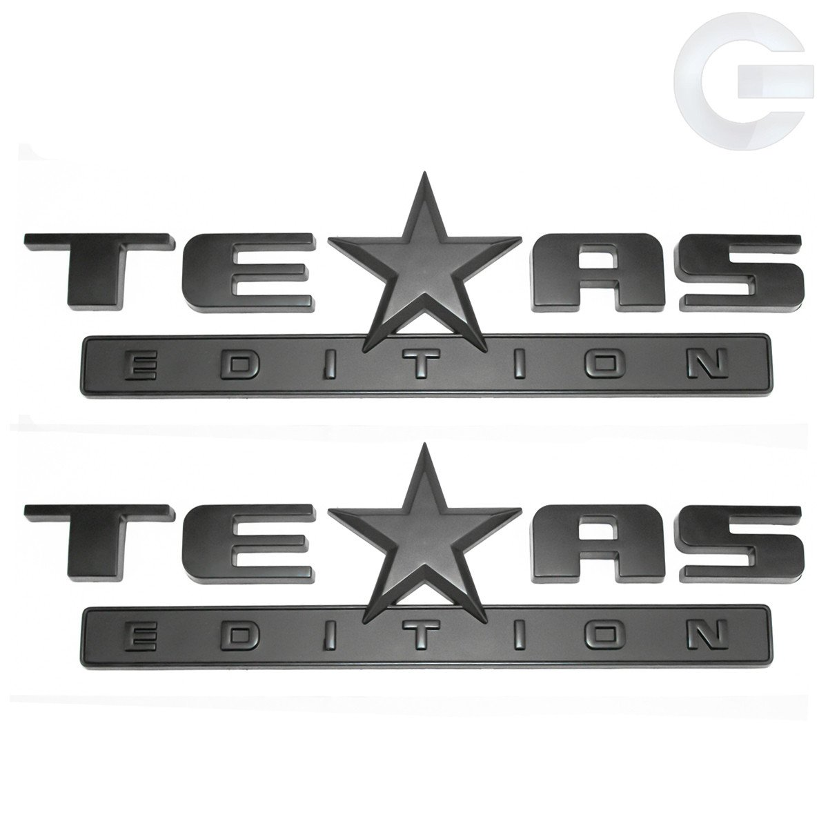 Matte Black Texas Edition Truck Emblems Chevy GMC Pair