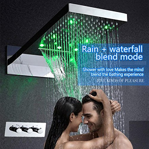 Gowe Hot And Cold Bathroom Faucet Shower Accessoires LED Conceal Shower Set 304 Stainless Steel Waterfall LED Shower Mixer Tap 4